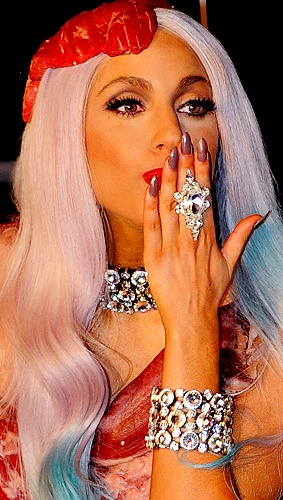 lady gaga meat dress images. Lady Gaga#39;s Meat Dress: For