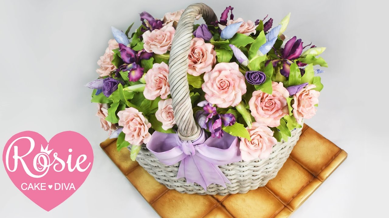 How To Make A Basket Of Flowers Cake